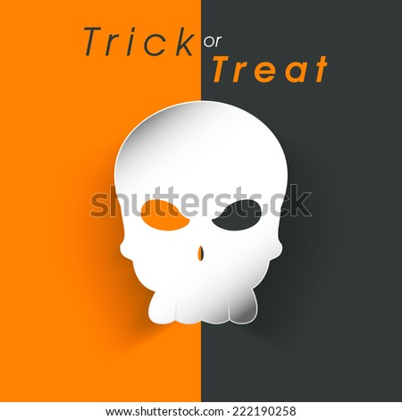 Stylish poster of Trick or Treat with horrible skull for Halloween party. - stock vector