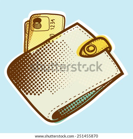 Stylish purse with credit card - stock vector