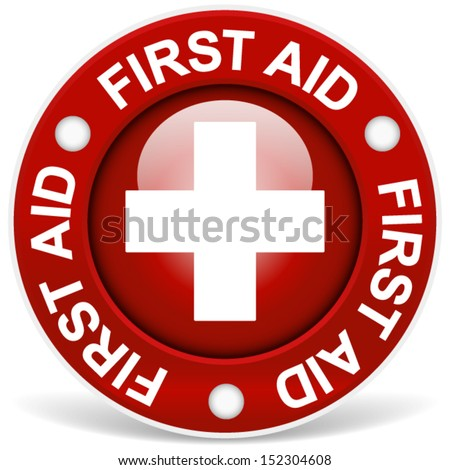 "Stylish red ""first aid"" badge - stock vector"
