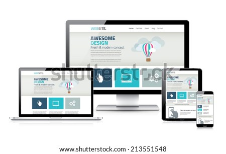 Stylish responsive web design development coding vector concept - stock vector