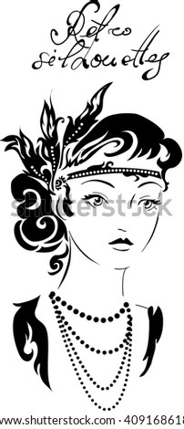 Stylish retro beautiful model for fashion design. Hand-drawn graphic illustration. Portrait of pretty woman with feathers on her head . Sketch drawing, elegant vector style. - stock vector