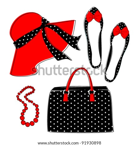 Stylish retro set of female fashion accessories isolated on white. Grouped and layered for easy editing. Raster version available in my portfolio - stock vector
