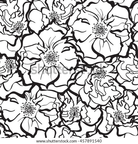 Stylish Rose Flowers ornament in black and white. Seamless pattern background. Floral Vector Texture.  - stock vector