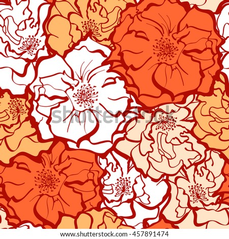 Stylish Rose Flowers ornament in yellow and orange colors. Seamless pattern background. Floral Vector Texture.  - stock vector