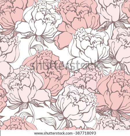Stylish Rose Flowers Seamless Background. Floral Vector Pattern. Rose Quartz Tint Ornament.