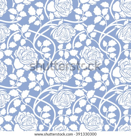 Stylish Rose Flowers Seamless Pattern on lilac Background. Floral Vector Texture. Serenity Tint Ornament.