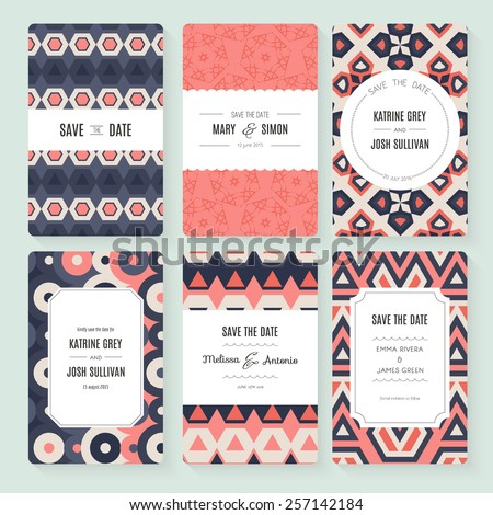 Stylish save the date or wedding invitation card collection. Vector romantic card template. Perfect for wedding invitations, wedding cards, baby shower. - stock vector