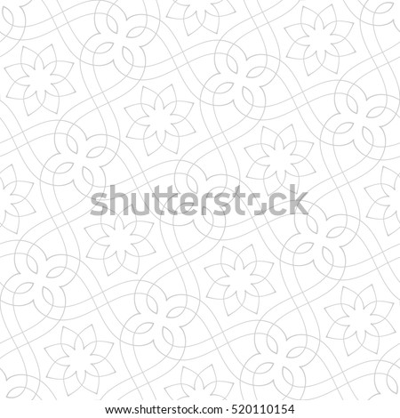 Stylish seamless pattern. Abstract floral design with elegant lines and scrolls. Arabesque.