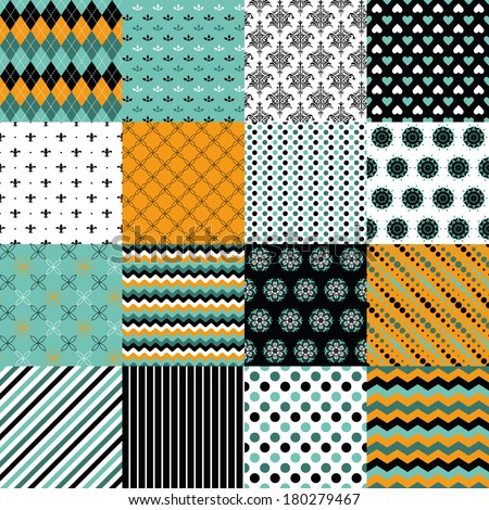Stylish seamless pattern vector set in orange, light blue, dark blue and white colors - argyle, polka dot, damask, floral, striped, wave, abstract. 16 different backgrounds.