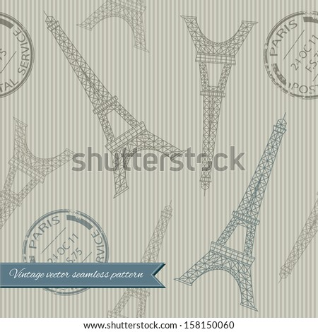 Stylish seamless pattern with eiffel tower and stamps on striped texture . Can be used for wallpaper, pattern fills, web page background,surface textures, fabric. - stock vector