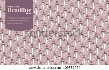 Stylish Seamless Pattern with Mushroom - stock vector
