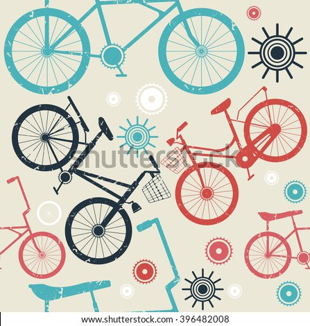 Stylish seamless pattern with retro bicycles can be used for your creative ideas. Vector image. - stock vector