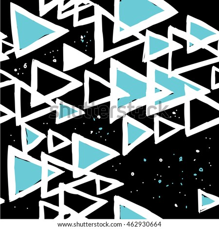 Stylish seamless pattern with triangles in a Scandinavian style . Vector freehand drawing .