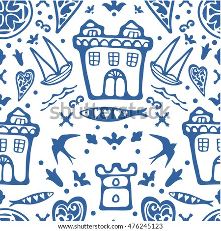 Stylish seamless pattern with typical Portuguese elements