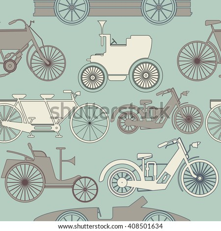 Stylish seamless pattern with vintage cars and bikes. Perfect template for wallpaper, retro card, linen,  tissue, design fabric and more creative designs. - stock vector