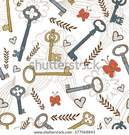 Stylish seamless pattern with vintage keys