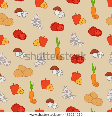 Stylish seamless vector pattern with color vegetable icons