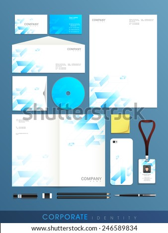 Stylish  set of corporate identity for your business purpose on blue background. - stock vector