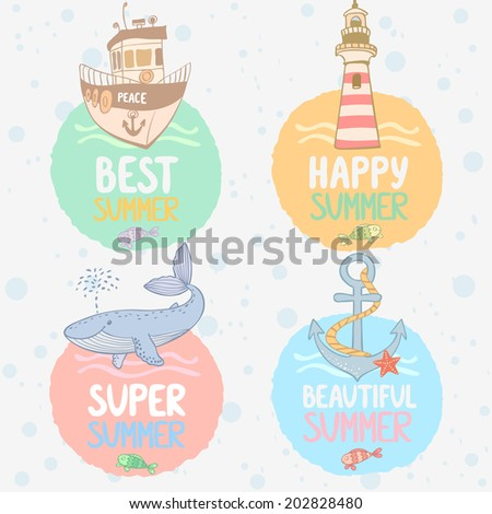 Stylish set sea cards with cute whale, lighthouse, ship, and anchor - stock vector