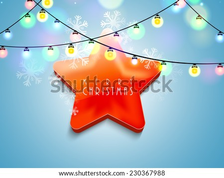 Stylish shiny star with text on colorful lights and snowflake decorated background for Merry Christmas celebration.  - stock vector