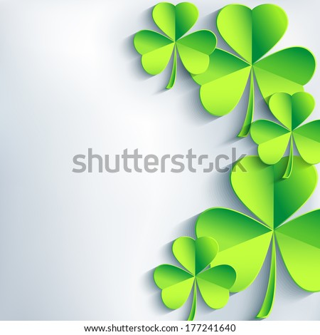 Stylish St. Patrick's day card with green leaf clover. Trendy abstract gray background. St. Patrick day background. Vector illustration  - stock vector