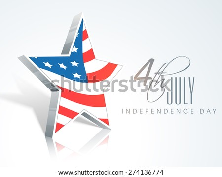 Stylish star in American national flag color for 4th of July, Independence Day celebrations. - stock vector