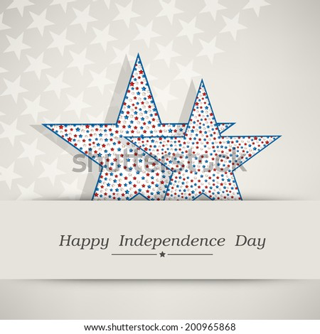 Stylish stars on grey background for American Independence Day celebrations.  - stock vector