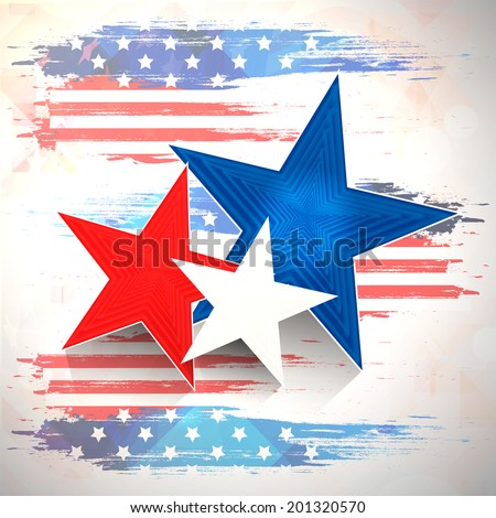 Stylish stars on national flag colors beige background for 4th of July, American Independence Day celebrations.  - stock vector