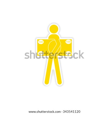 stylish sticker on paper man holding banknote - stock vector