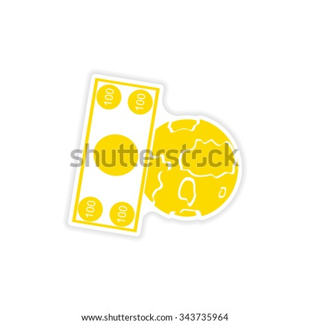 stylish sticker on paper Money and Earth - stock vector