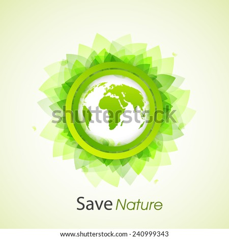 Stylish sticker with earth globe and leaves for Save Nature purpose.