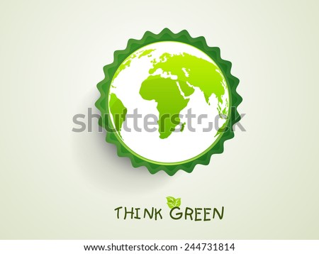 Stylish sticker with earth globe for Save Nature purpose.  - stock vector