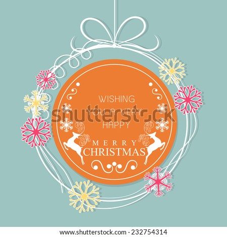 Stylish sticky in beautiful snowflake decorated hanging X-mas ball for Merry Christmas celebrations. - stock vector