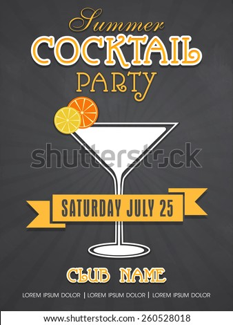 Stylish Summer Cocktail Party invitation card design with details for club and night beer parties. - stock vector