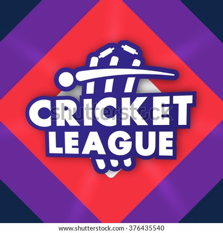Stylish text Cricket League with illustration of ball and wicket stumps for Sports concept. - stock vector