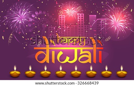 Stylish Text Happy Diwali Illuminated Lit Stock Vector 326668439 ...