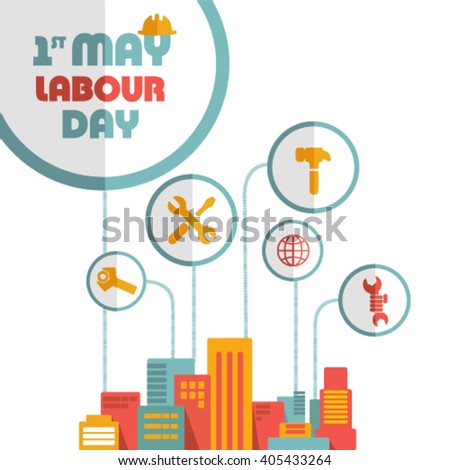 Stylish text Labour Day on abstract background.