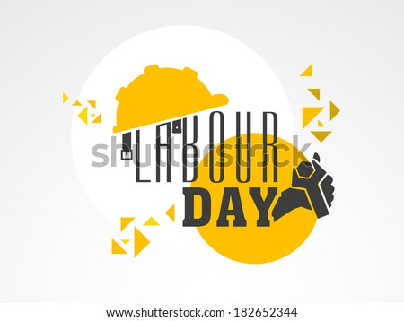 Stylish text Labour Day with wrench on colorful abstract background, can be use as flyer, banner or poster.  - stock vector
