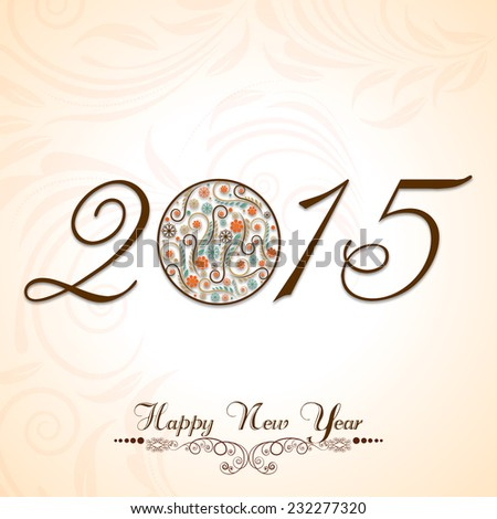 Stylish text of Happy New Year 2015 with beautiful X-mas ball on floral decorated background. - stock vector