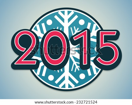 Stylish text 2015 on snowflake decorated blue background for Happy New Year celebrations. - stock vector