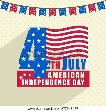 Stylish text 4th July in national flag colors for American Independence Day celebration.