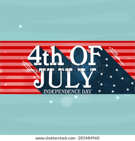 Stylish text 4th of July for American Independence Day celebration, can be used as poster, banner or flyer design. - stock vector