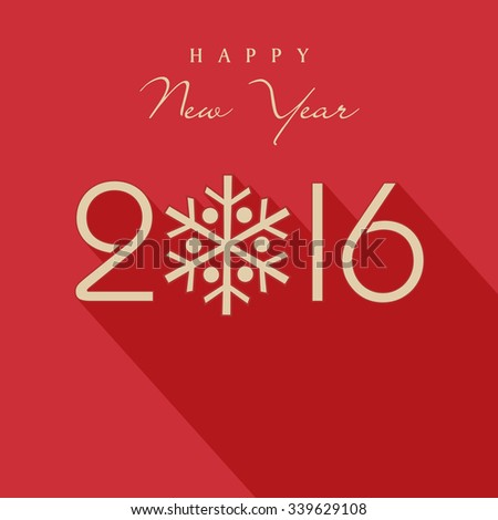 Stylish text 2016 with snowflake for Happy New Year celebration. - stock vector