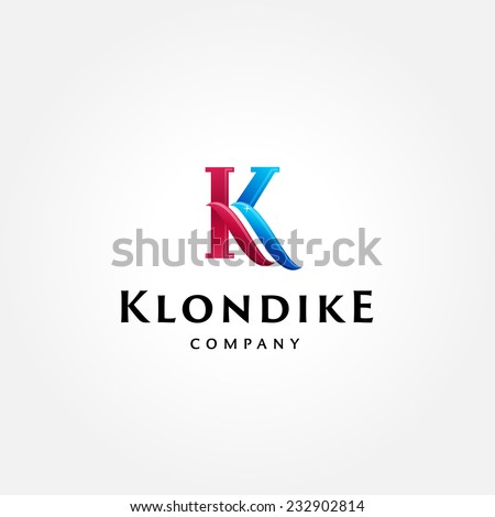 Stylish typographic logo template | Letter K Symbol | shiny icon template | corporate identity - stock vector