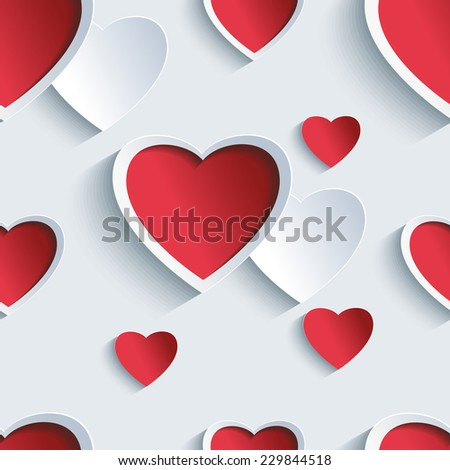 Stylish Valentines day background seamless pattern with 3d red and gray cut paper hearts. Creative abstract wallpaper with hearts. Love card for Valentines day. Vector illustration. - stock vector