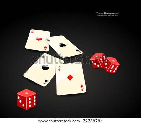 stylish vector casino cards and dice background - stock vector