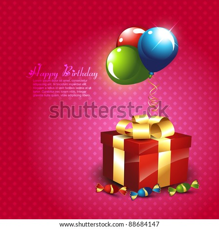stylish vector gift illustration with balloons