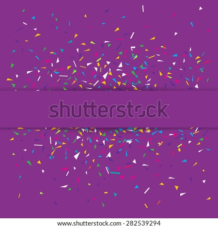 Stylish vector illustration of a purple party background with colorful confetti and copy space for your text. Can be used as a greeting card template - stock vector