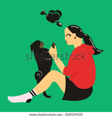 Stylish vector illustration with girl and her cute pug