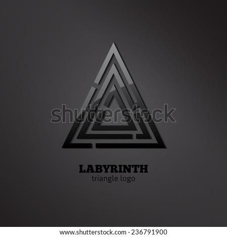 Stylish vector maze. Glossy black triangle labyrinth logo. - stock vector